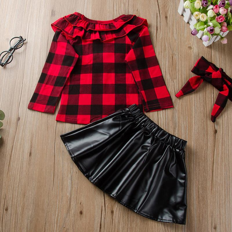 3-piece Plaid Pattern clothes & Short skirt & Headband for Toddler  Girl Wholesale children's clothing