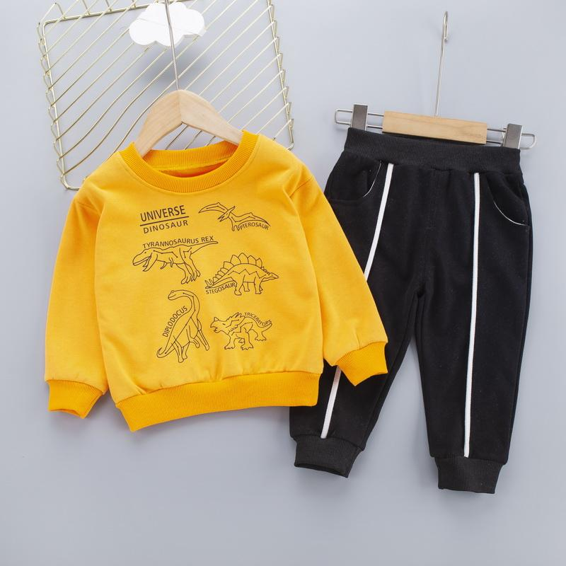 2-piece Dinosaur Pattern Sweatshirt & Pants for Children Boy - PrettyKid