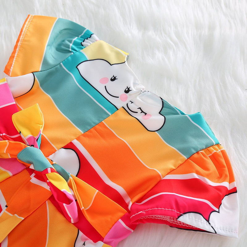 Toddler Girls Cartoon Cloud Print Dress Irregular Skirt Princess Dress