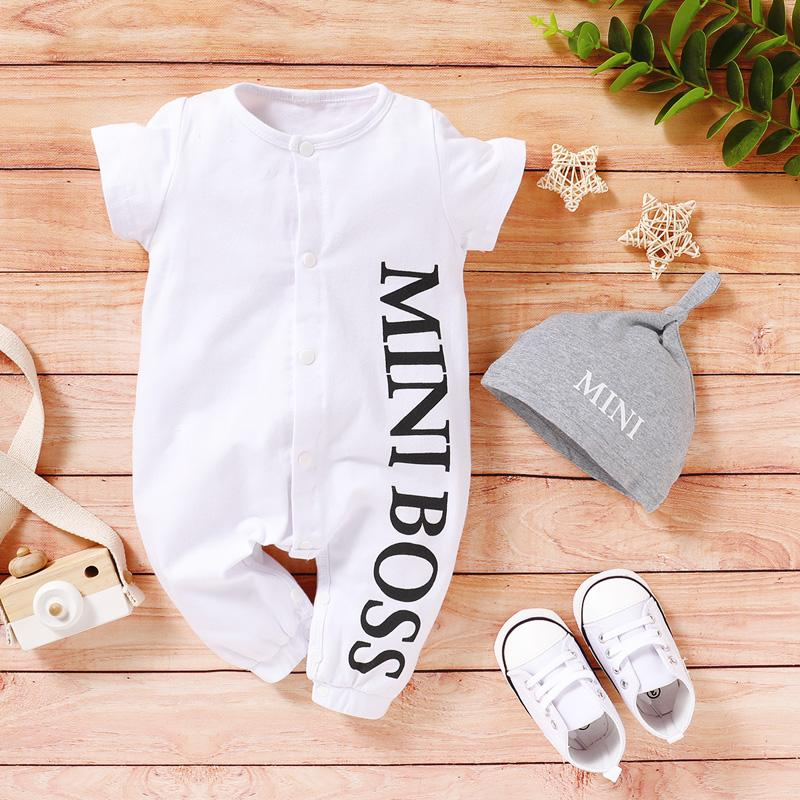 2-piece Letter Printed Bodysuit & Hat for Baby Boy(No Shoesï¼?Wholesale