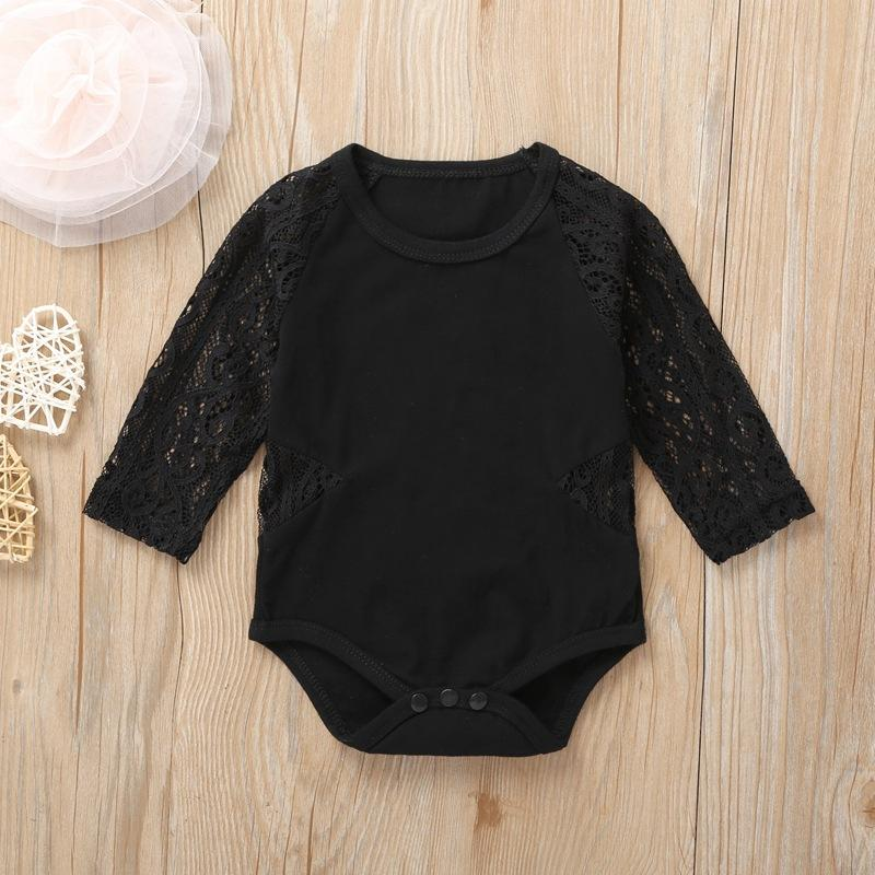 Baby Girls Solid Long Sleeve Lace Romper Baby Clothes Suppliers - PrettyKid