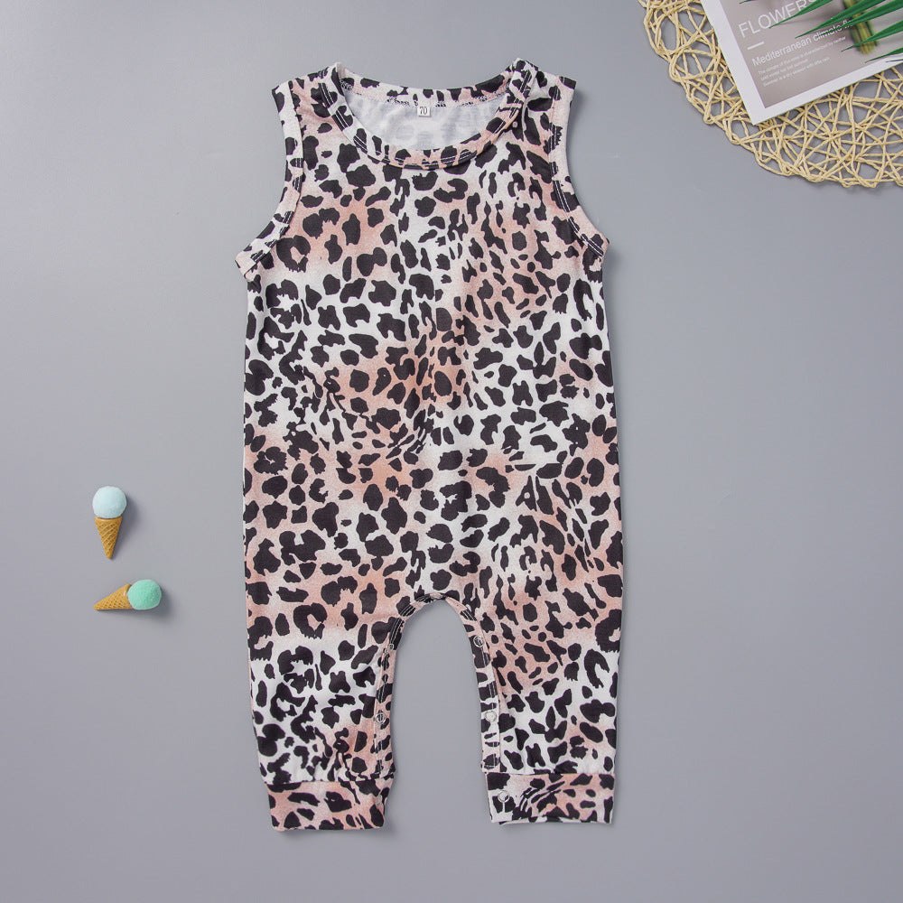 Leopard Pattern Jumpsuit for Baby Girl Wholesale children's clothing