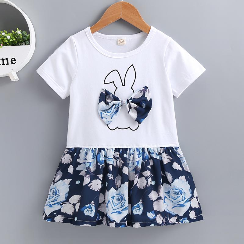 Summer Small And Medium Girls Rabbit Bow Short-Sleeved Printed Dress