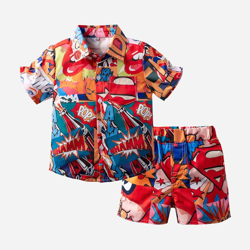 Wholesale Childrens Clothing Online Short-Sleeved Shirt Shorts Vacation Two-Piece Set