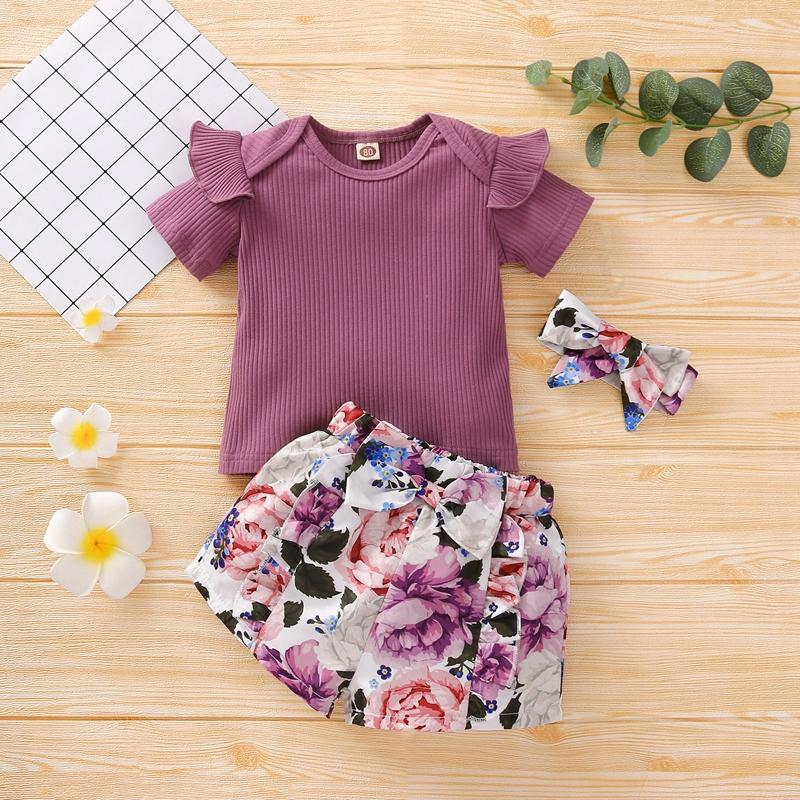 Toddler Girl 3pcs Floral Pattern Summer Suit Cami Top & Shorts & Hesdhand Wholesale Children's Clothing