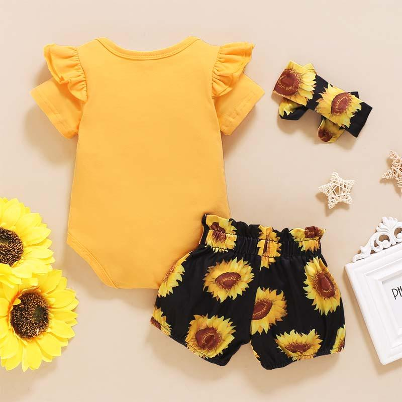 3-piece Letter Pattern Bodysuit & Shorts & Headband for Baby Girl Wholesale children's clothing - PrettyKid