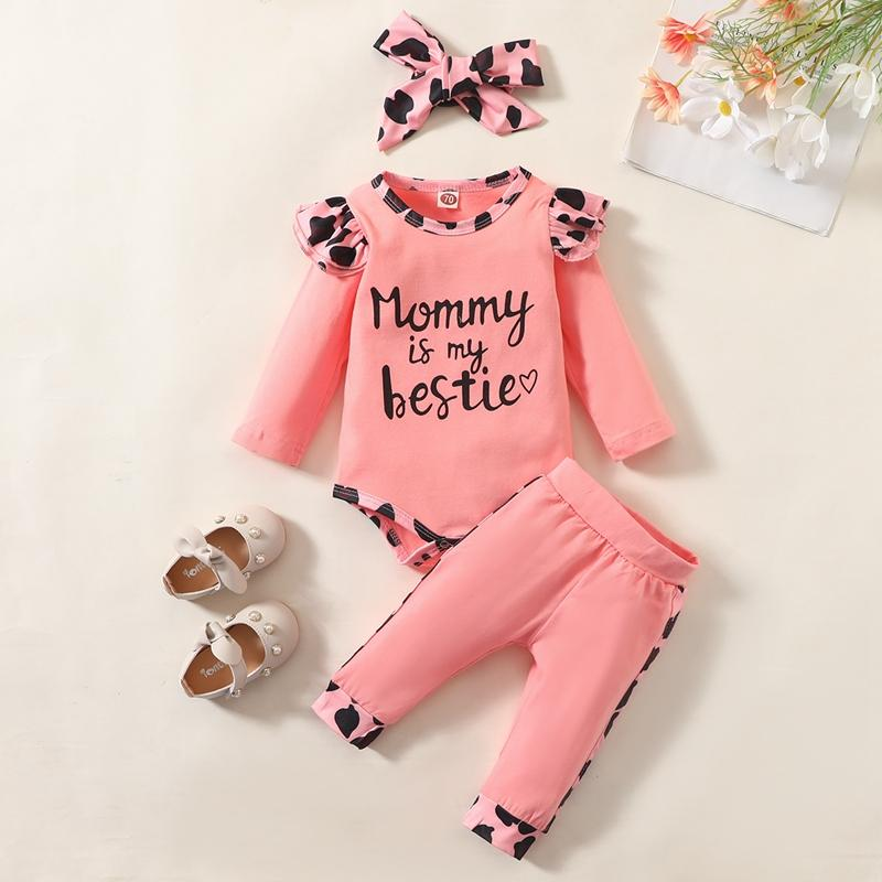 3-piece Leopard Romper & Headband & Pants for Baby Girl - PrettyKid
