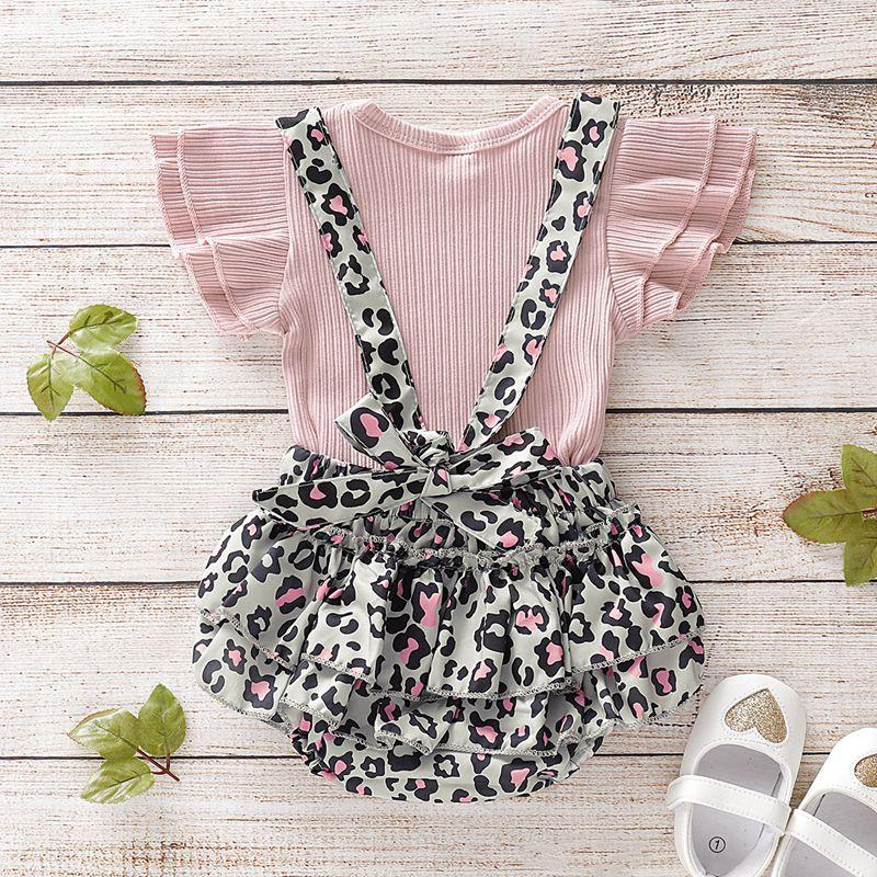 2-piece Solid Ruffle Tops & Leopard Overalls for Baby Girl Wholesale children's clothing