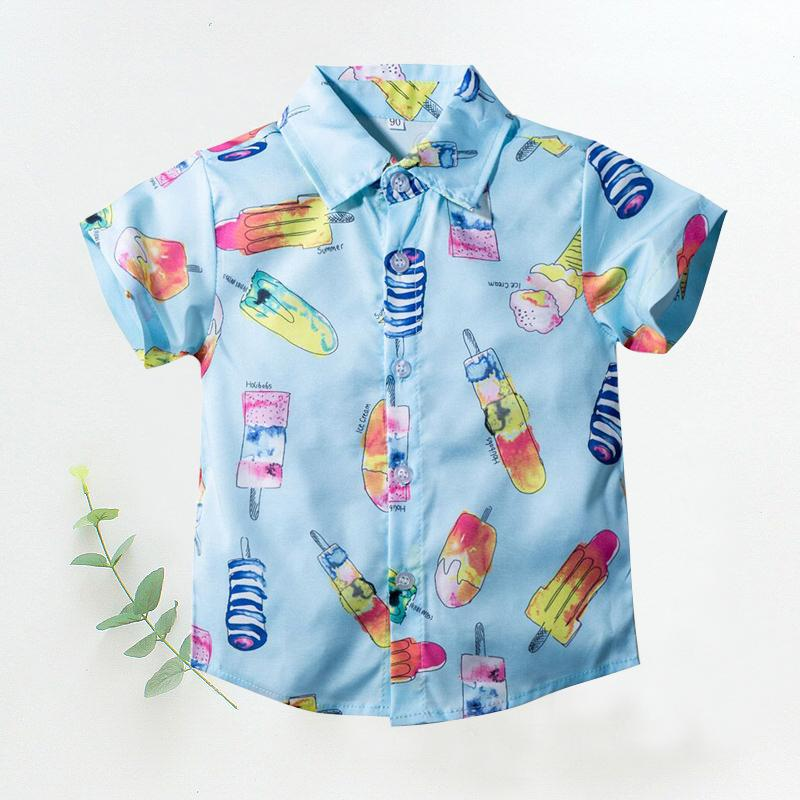 Exclusive Wholesale Boutique Clothing Ice-cream Print Shirt For Boys