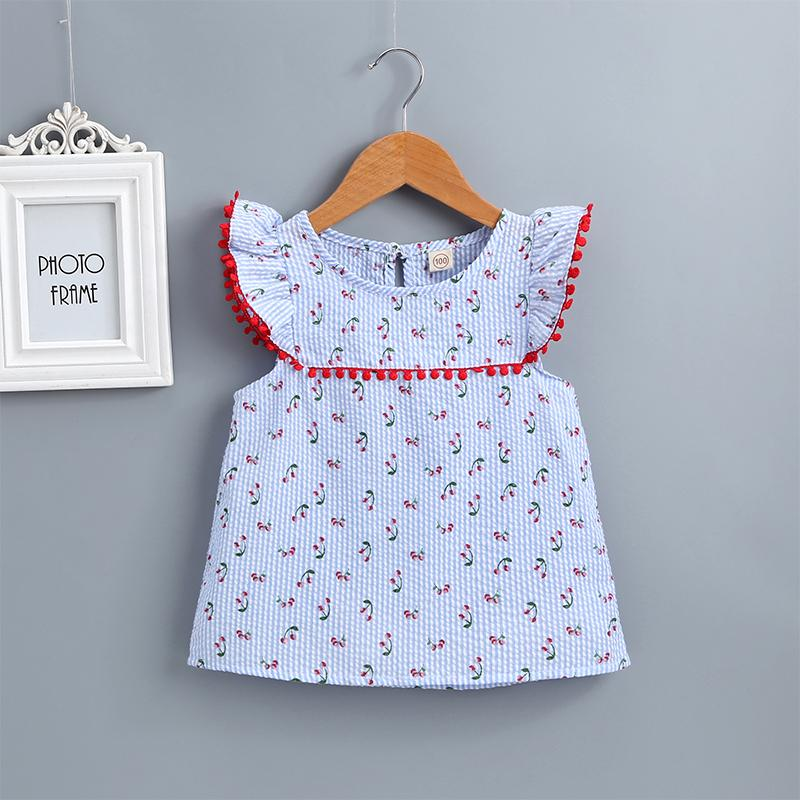 Girls Printed Lace Round Neck Flowers Flying Sleeve Dress - PrettyKid