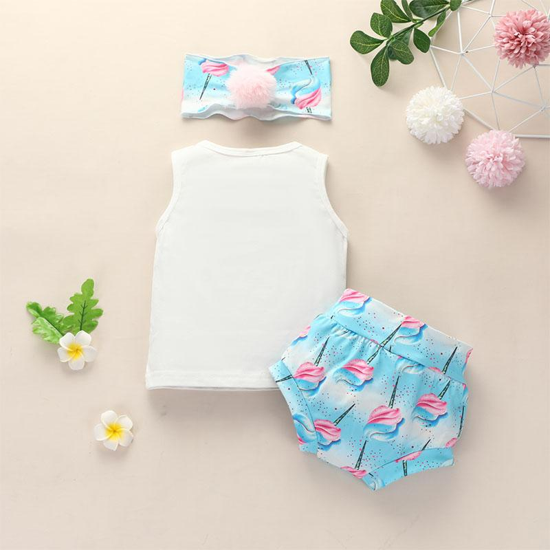 3-piece Vest & Headband & Flamingos Pattern Shorts for Baby Girl - PrettyKid