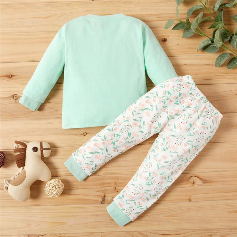 Toddler Sika Deer Top and Floral Pants Pajamas Set Wholesale children's clothing
