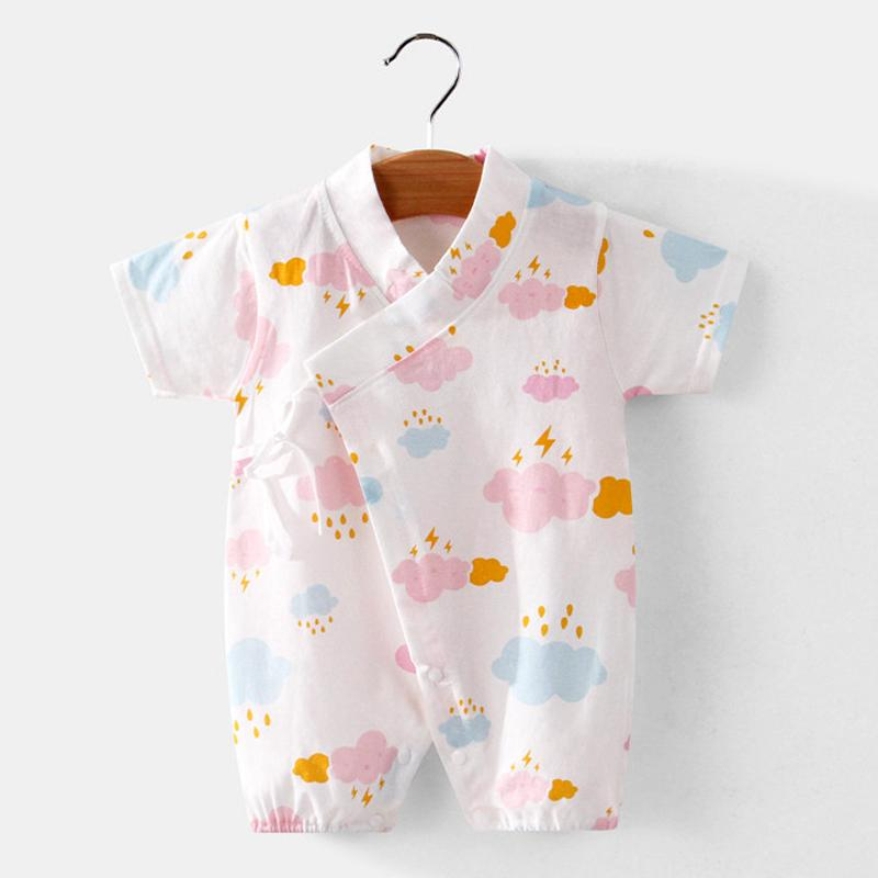 Baby Girl Summer Clouds Pattern Bodysuit Wholesale Children's Clothing - PrettyKid