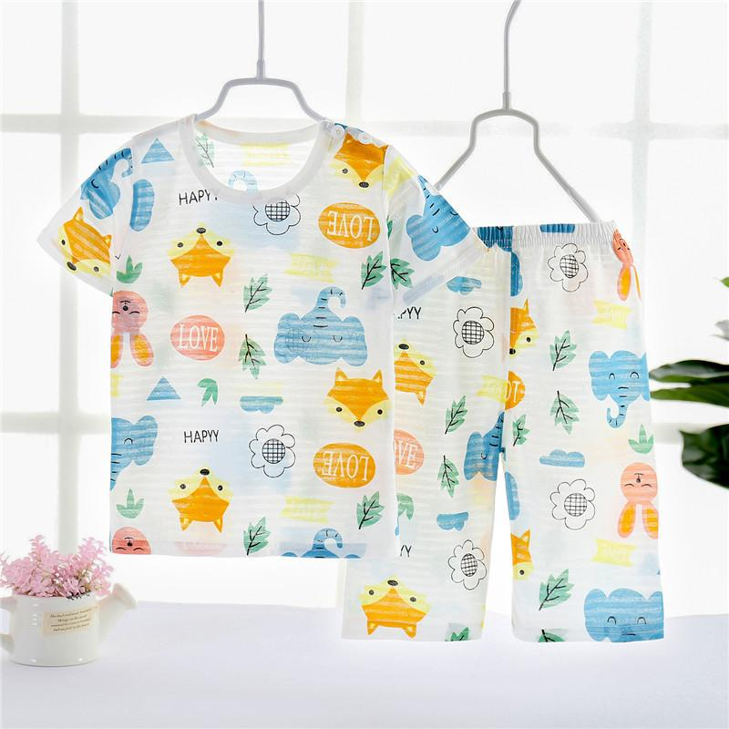 Toddler Boy Animal  Pattern Summer Pajamas Sets Top+Pants