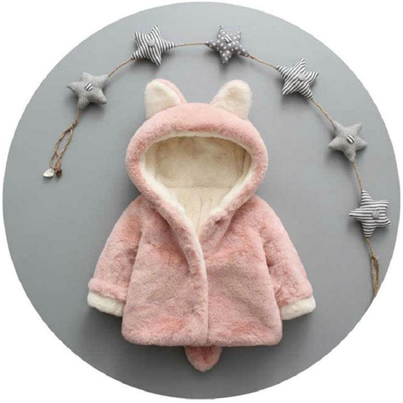 Rabbit Ears Pattern Plush Hooded Jacket for Toddler Boy Wholesale Children's Clothing