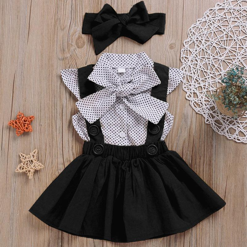 2-piece Polka Dot Dress & Headband for Toddler Girl Wholesale children's clothing - PrettyKid