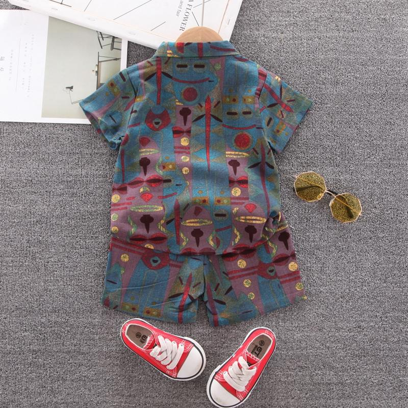 Toddler Boy Egyptian Leaves Shirt Suit