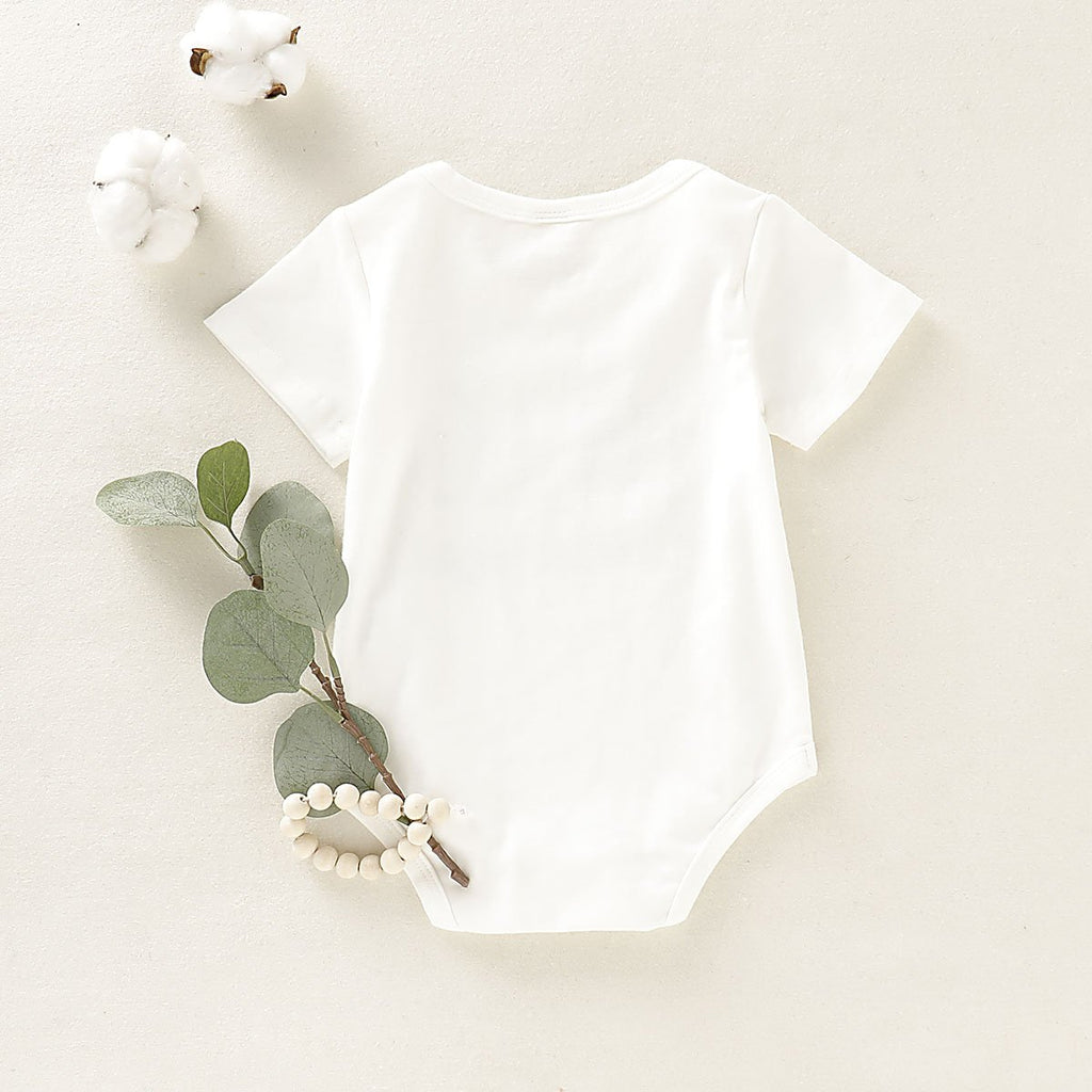 Hello Letter Printed Short-sleeved Round Neck Romper for Baby