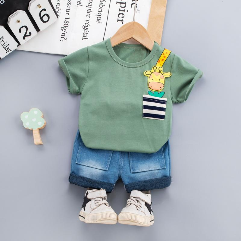 Children Boy 2pcs Animal Pattern Summer Suit T-Shirt & Denim Shorts - PrettyKid