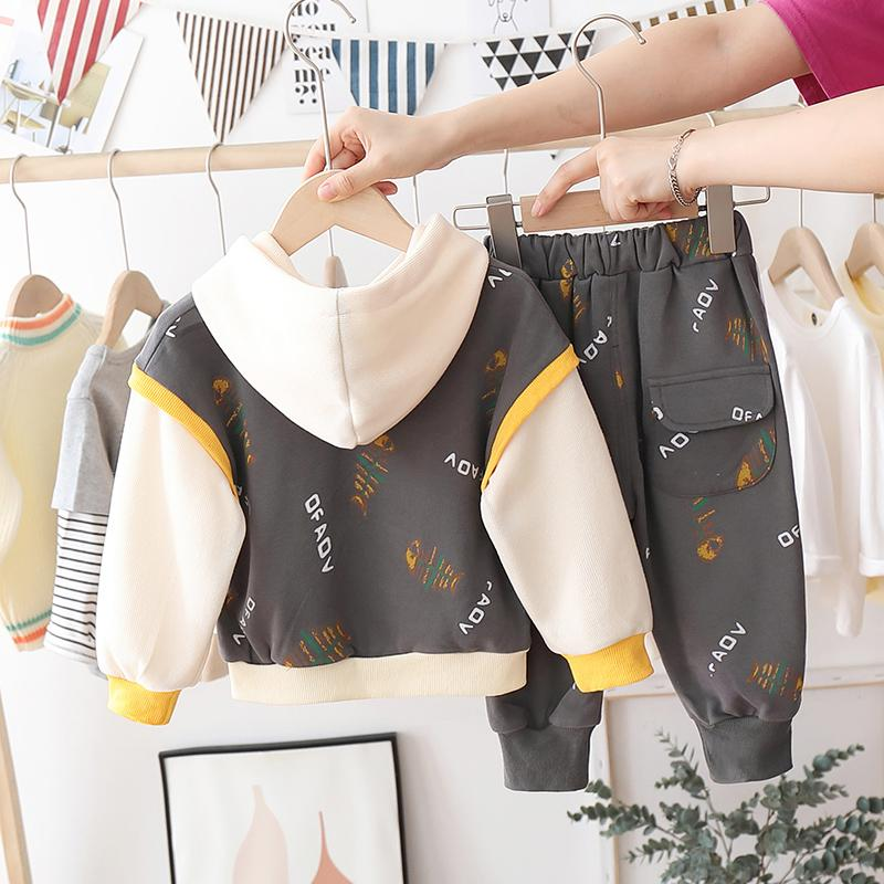 2-piece Fish Pattern Hoodie & Pants for Toddler Boy Wholesale children's clothing