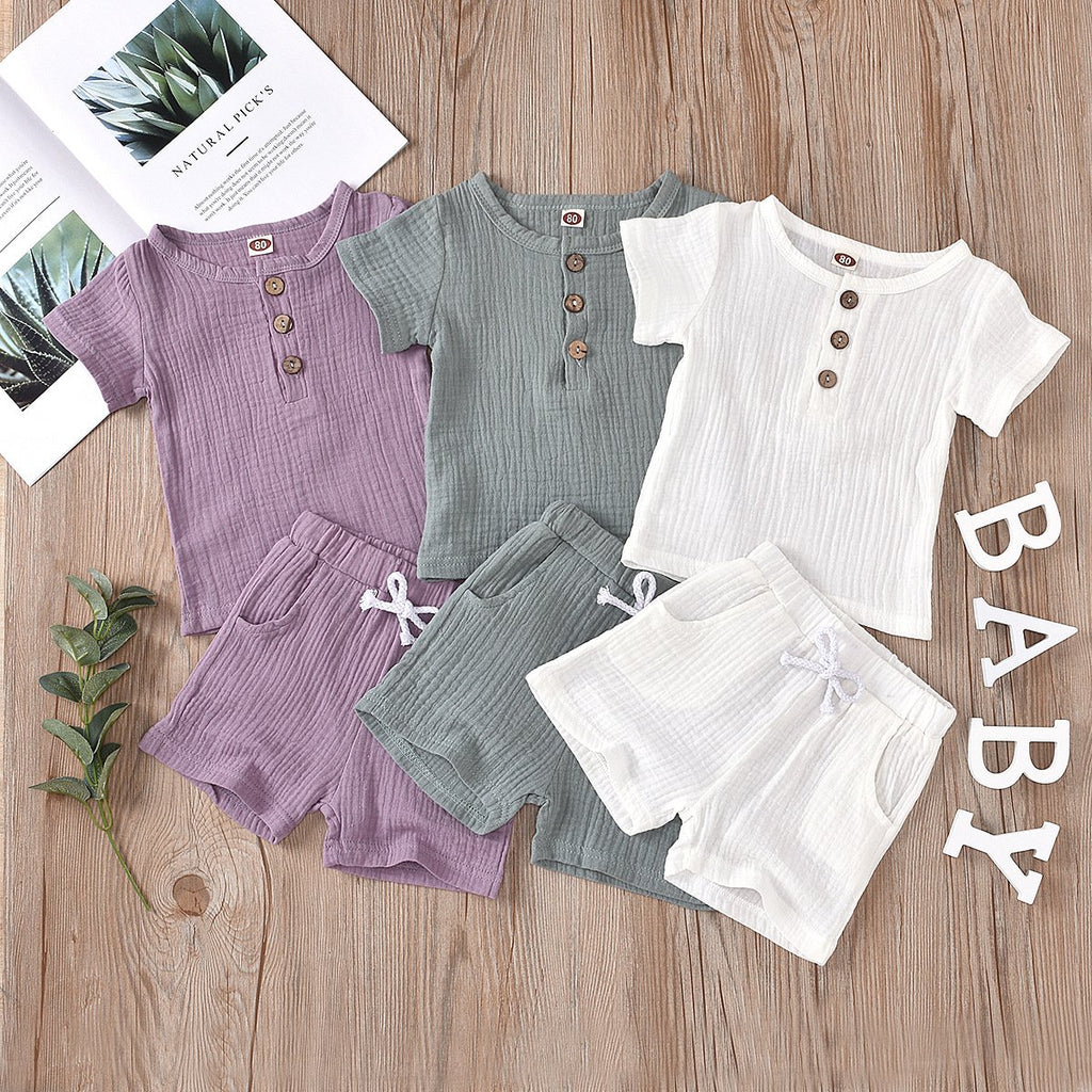 Trendy Kids Wholesale Clothing Multi-Color Cotton and Linen Short Sleeve Suit