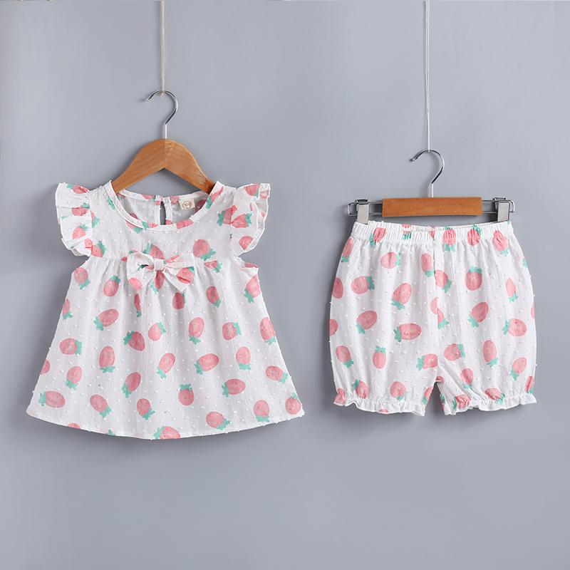 2-piece Strawberry Printed Blouse & Pants for Toddler Girl - PrettyKid