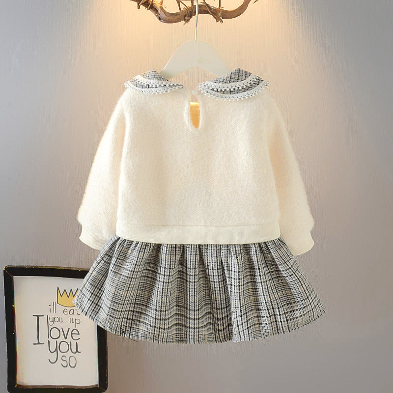 2021 Baby  Girl Winter Velvet Padded Dress New  Style Tartan Skirt Fashionable Winter Clothes Wholesale