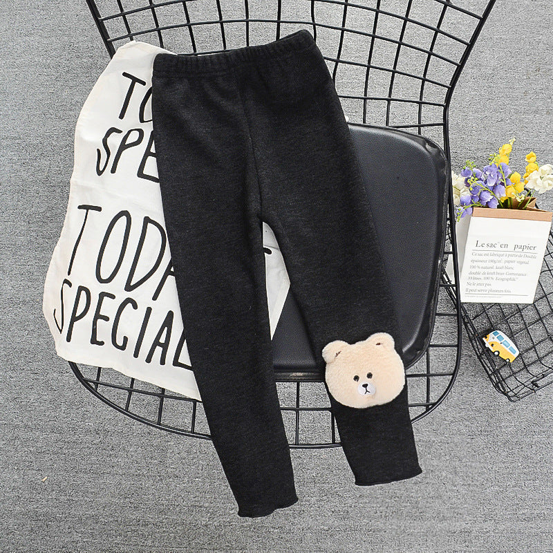 2021 Fashion Baby Girl  Winter Fleece-Lined Thick Leggings 2020 Winter Newness Long Pants Vendor