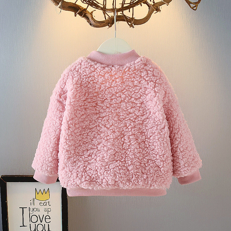 2021 Fashion Baby Girls Fleece-Lined Furry Sweater Winter Children's Clothing Wholesale Children Pullover