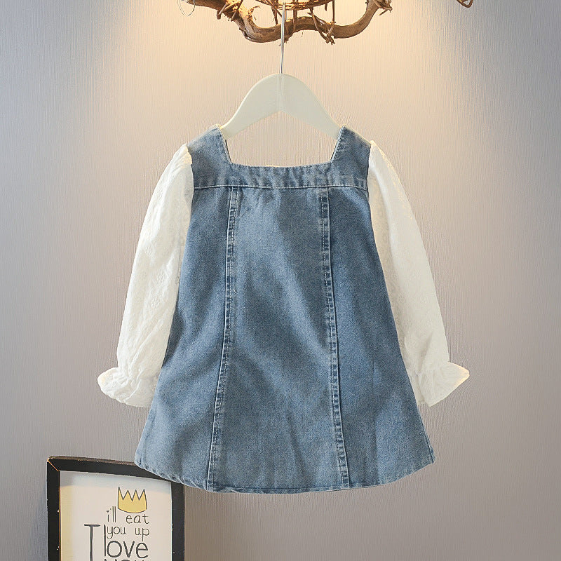 Imported  Fashionable  Children Wear Girls Denim Dress New Denim Stitching Long Sleeve Lace Dress Wholesale