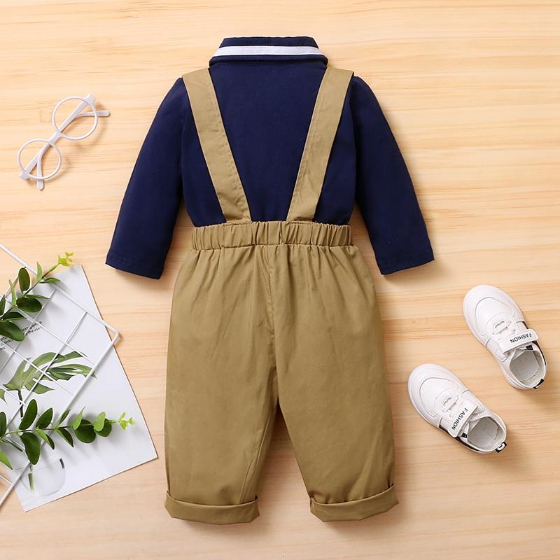 2-piece Bowknot Polo Shirt & Bib Pants for Baby Boy Wholesale Children's Clothing
