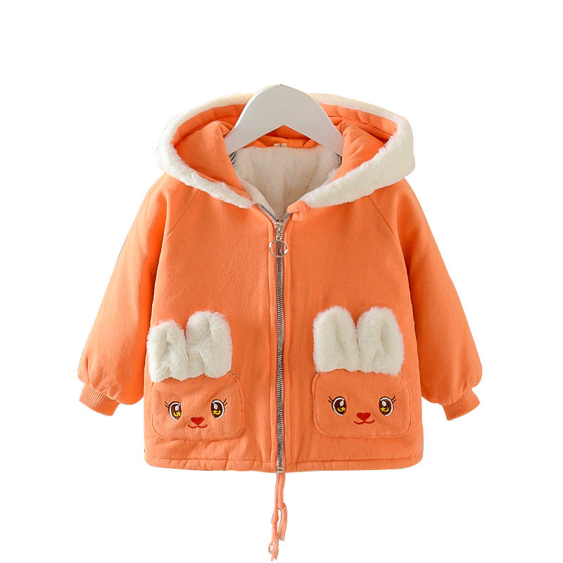 Children Clothing Girls Parka Velvet Padded Coat Wholesale