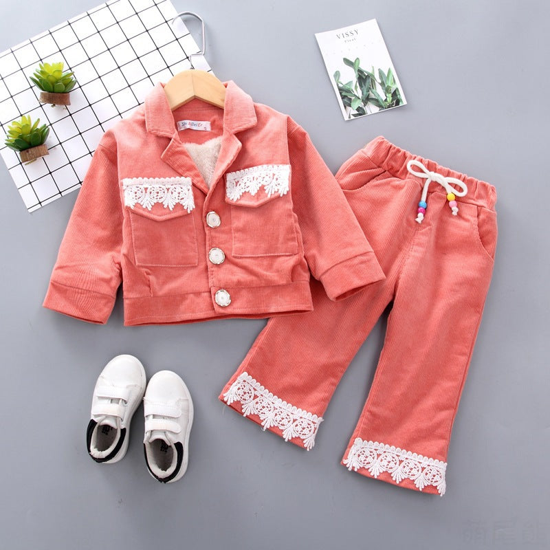 Fashion Winter Set Wholesale Girl Lace  Set Children Clothing in bulk