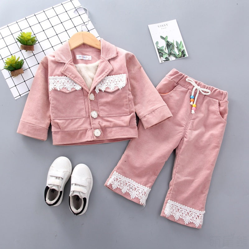 Fashion Winter Set Wholesale Girl Lace Set Children Clothing in bulk - PrettyKid
