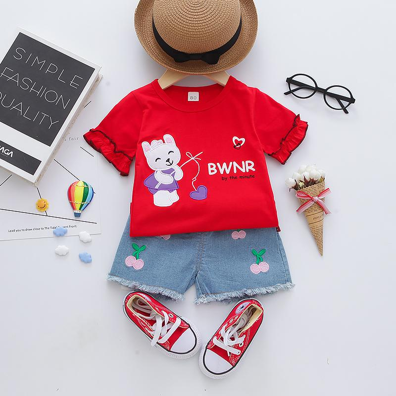 2-piece Cartoon Design T-shirt & Shorts for Toddler Girl - PrettyKid