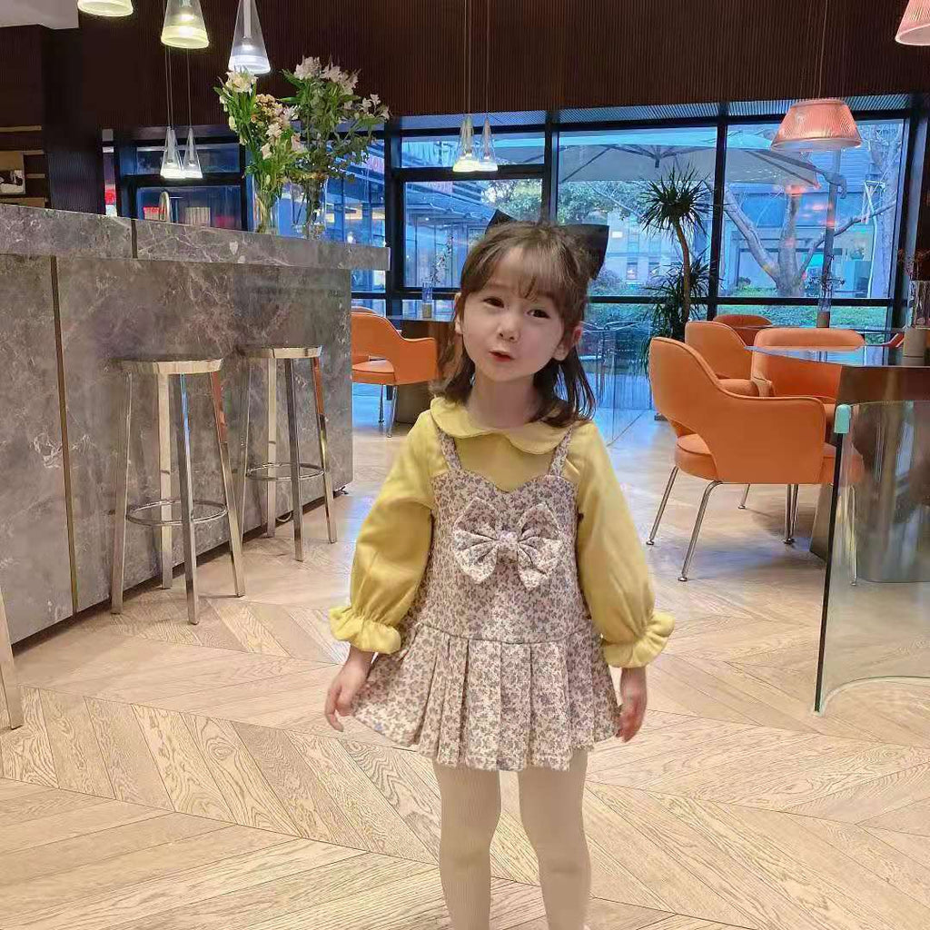 Fashionable Children Clothes Girls Fleece-Lined Dress Floral Manufactuer