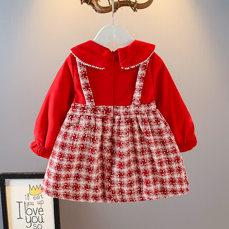 Kidswear Wholesale little  Girls Fashion  tartan  Dress