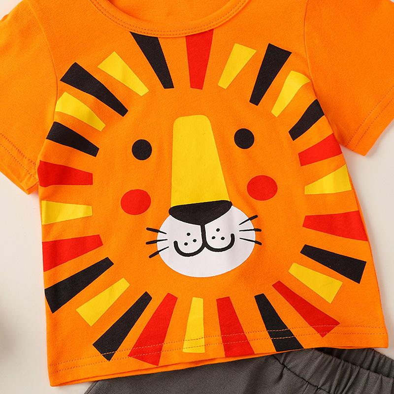 2-piece Lion Pattern T-shirt & Shorts for Baby Boy - PrettyKid