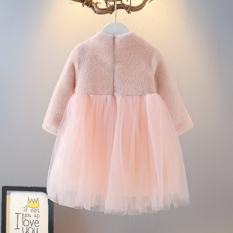 Kids Clothes Girls Velvet Dress Princess Dress Fashionable in bulk