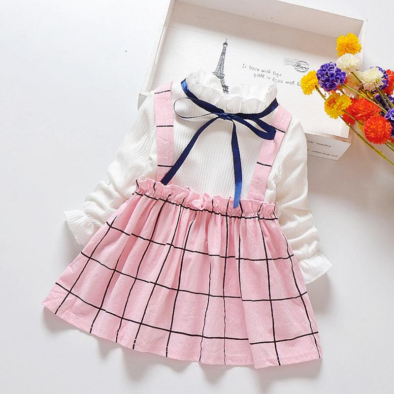 Fashion Color-block  Plaid Dress Wholesale children's clothing