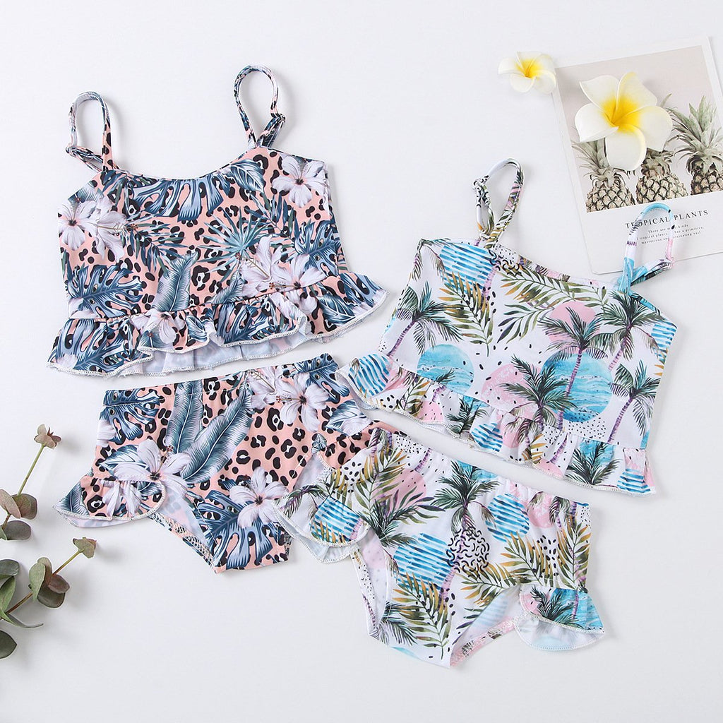 Kids Clothes Vendors Spaghetti-Strap Floral Print Swimsuit Two-Piece