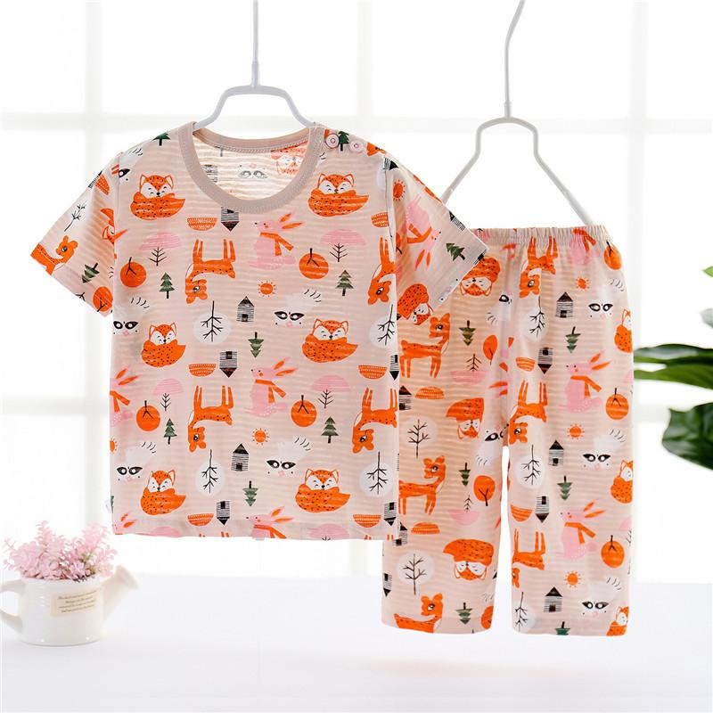 Toddler Girl Strawberry Pattern Summer Pajamas Sets Top+Pants
