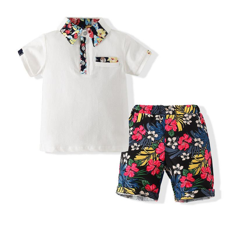 Wholesale Baby Clothing Usa Short-Sleeved Polo Shirt Floral Casual Pants Two-Piece Set