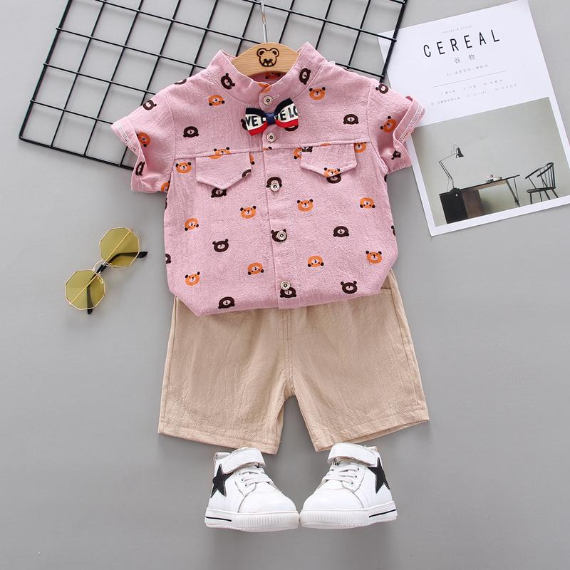 2-Piece Toddler Boy Bear Pattern Short-sleeve Shirt & Shorts Suit Wholesale Children's Clothing - PrettyKid