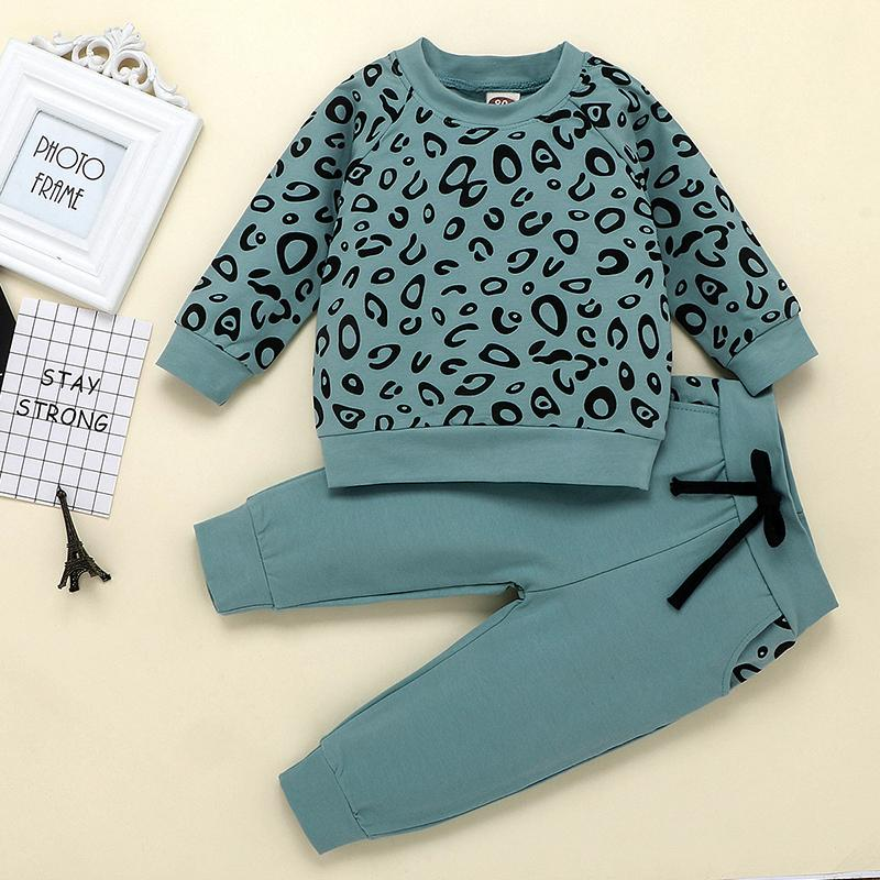 2-piece Leopard Sweatshirt & Pants for Toddler Girl Wholesale children's clothing