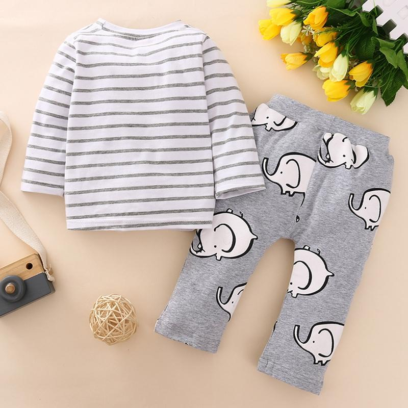2-piece Elephant Pattern Striped Pajamas Sets for Baby Boy Wholesale children's clothing