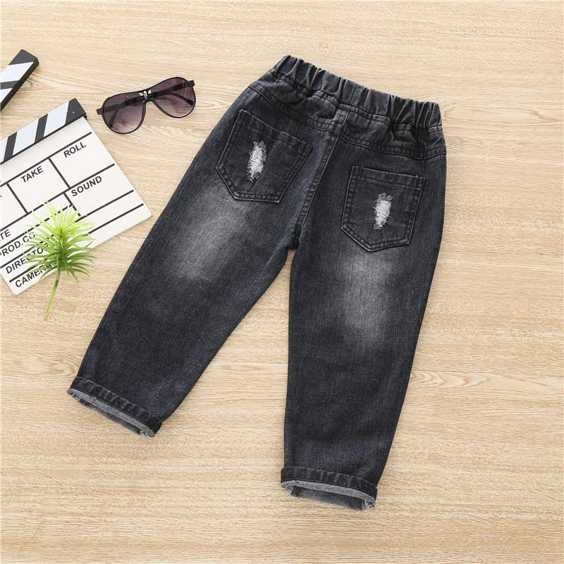 Solid Torn Jeans for Toddler Girl Wholesale children's clothing