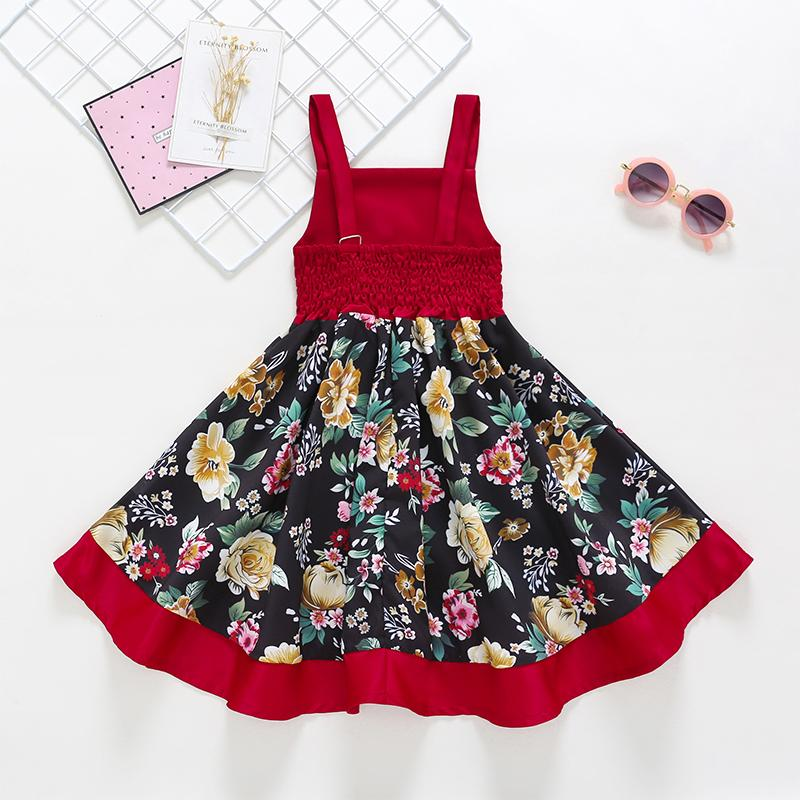Summer Girls Splice Print Suspender Dovetail Dress