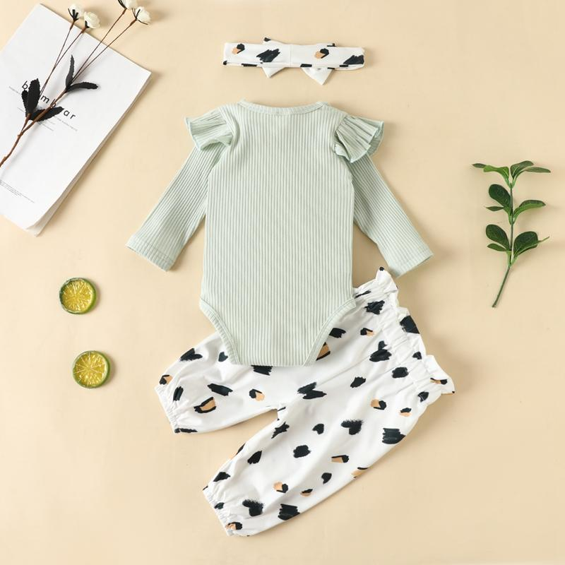 3-piece Solid Bodysuit & Leopard Pants & Headband for Baby Girl Wholesale children's clothing