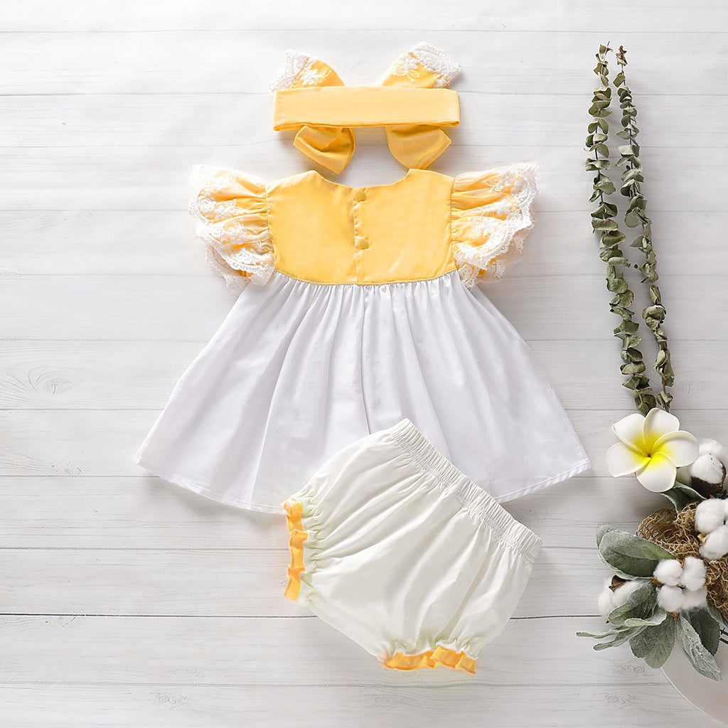 3-Piece Ruffled Top, Bow Decor Shorts and Headband - PrettyKid